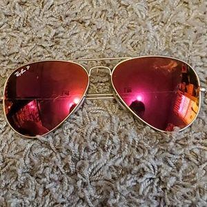 Ray-Ban Polarized Red Aviator Sunglasses